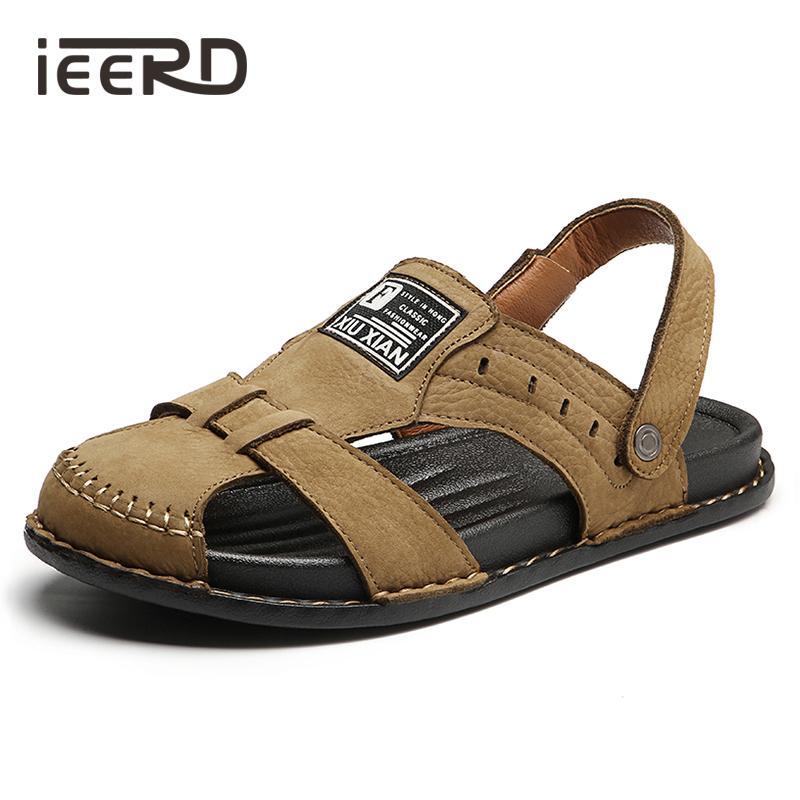 Plus Size Pelle di Mucca Men Leather Sandals Sandali estate degli uomini Scarpe Classici Comfort Beach Sandals Hollow Scarpe SCARPE Abbigliamento