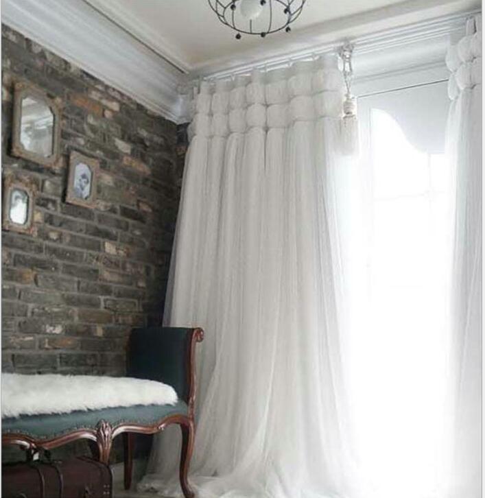 Korean Princess Style white lant Window Blackout Curtains For Living room girls Bedding room Drapes Cotinas para sala decorative