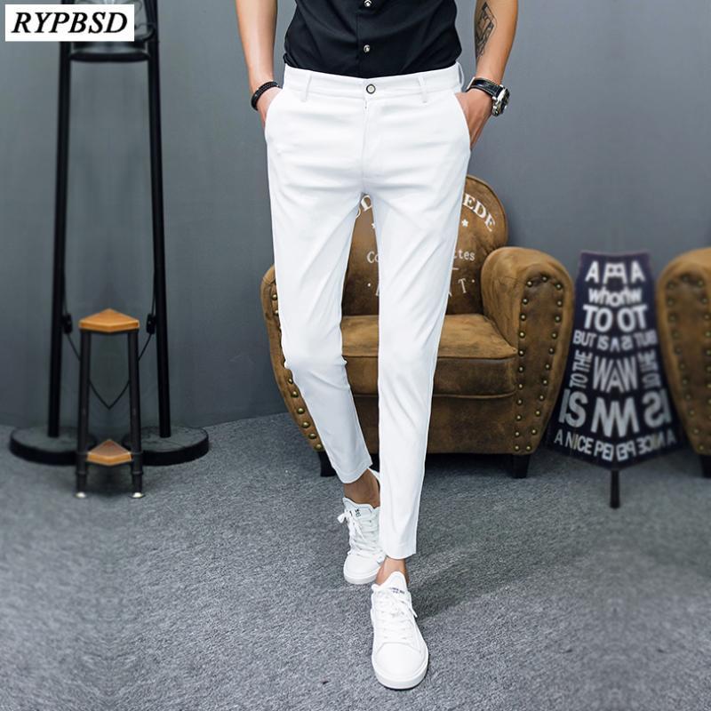 Erkek Pantolon Pantalon Homme Kore Moda Katı Erkekler Slim Fit Rahat Ayak Bileği Uzunluğu Streetwear Takım Elbise Pantolon Giyim