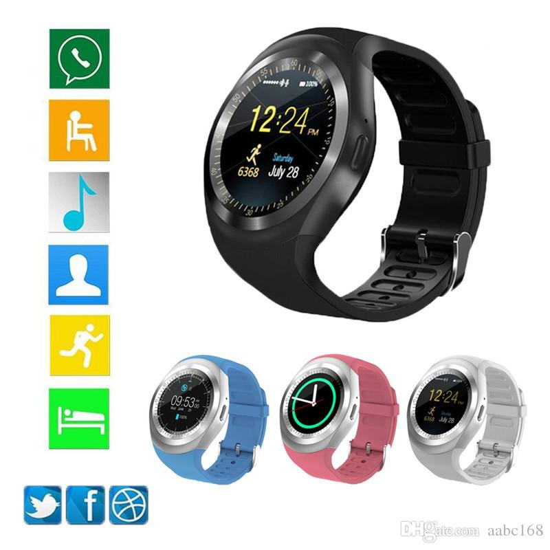 Bluetooth Y1 smart watch Relogio Android SmartWatch mobile phone call GSM Sim remote camera information display sports pedometer