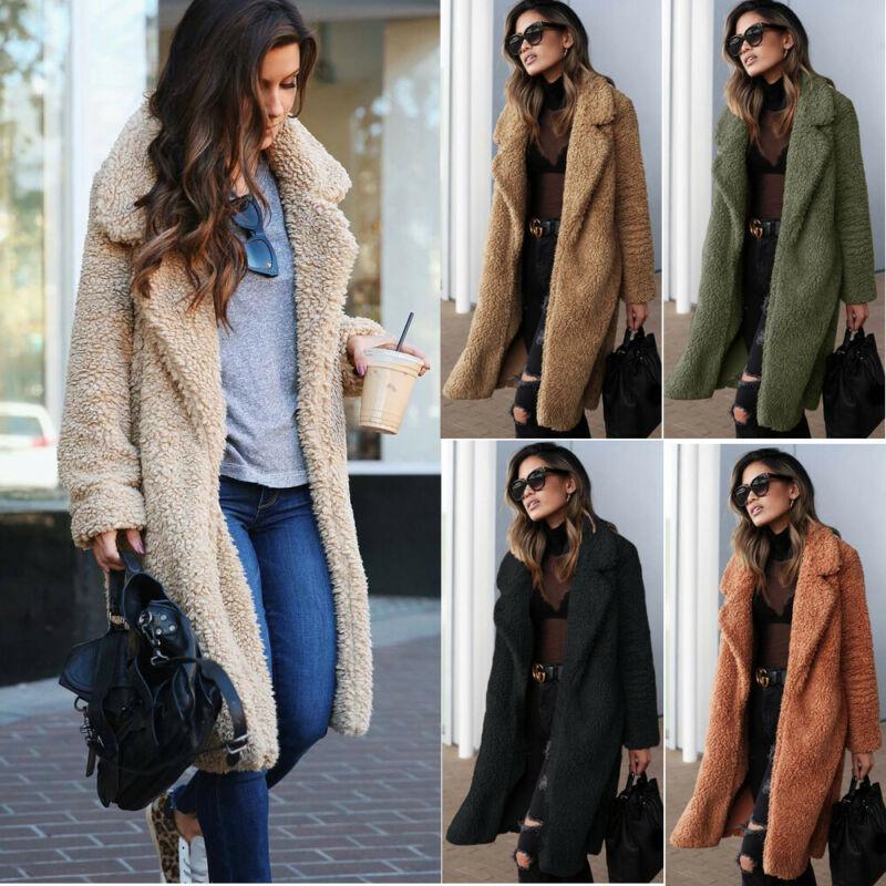 여성의 옷깃 테디 베어 가짜 모피 양털 코트 코트 롱 파커 코트
