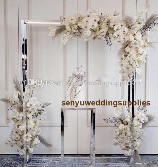 New style painted Gold Silver big and tall Wedding Metal Backdrop Frame Decoration senyu0444