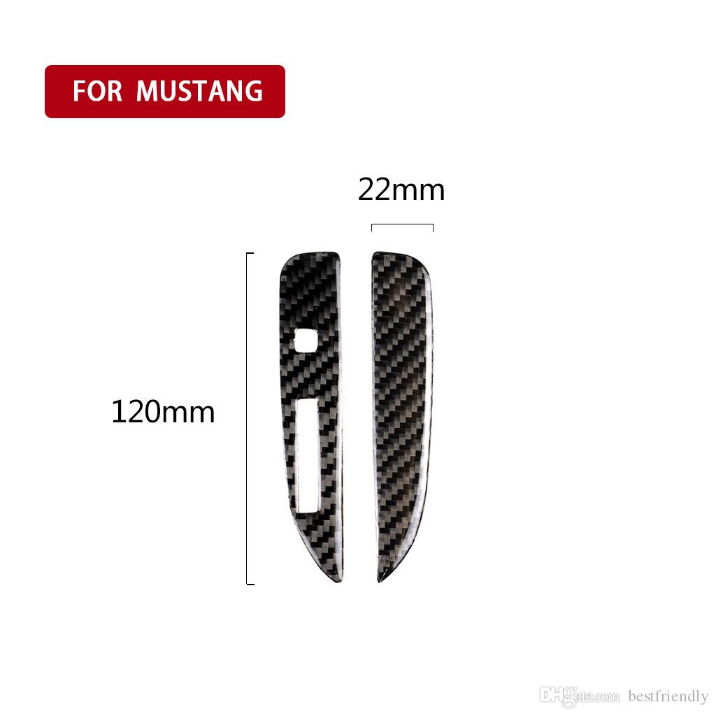 Fit For Ford Mustang 2015-2017 Carbon Fiber Interior Gear Shift Panel Cover Trim