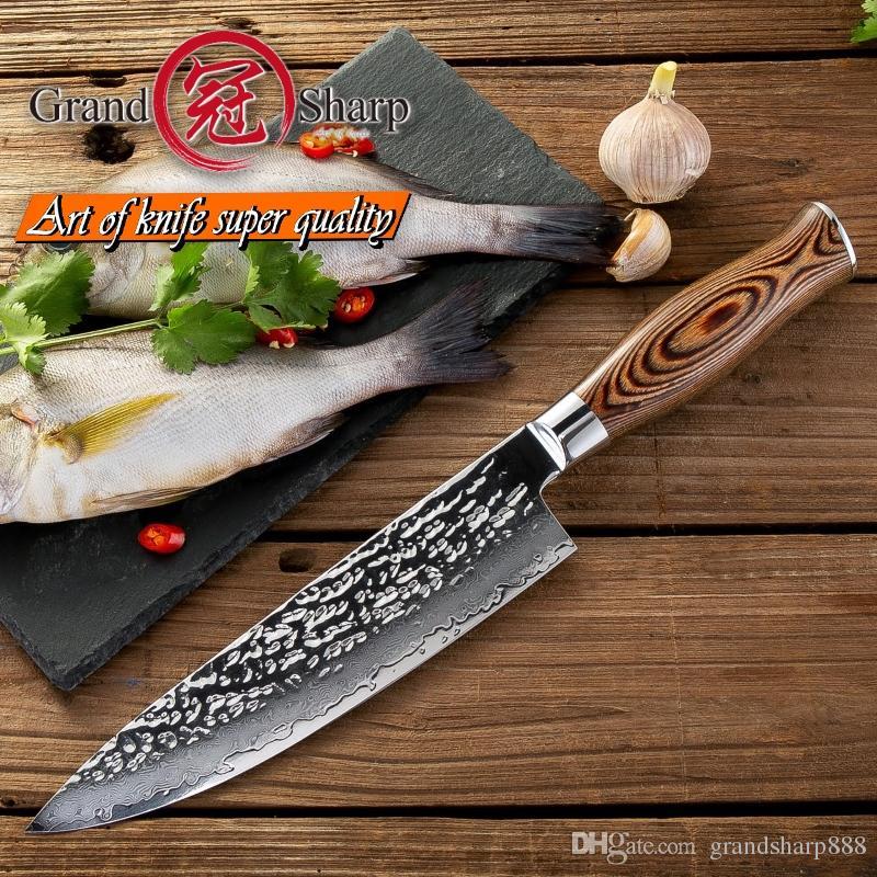 Grandsharp 7.5 인치 주방 요리사 나이프 다마스커스 강철 일본 주방 나이프 VG10 일본어 고 탄소 쉐프 나이프