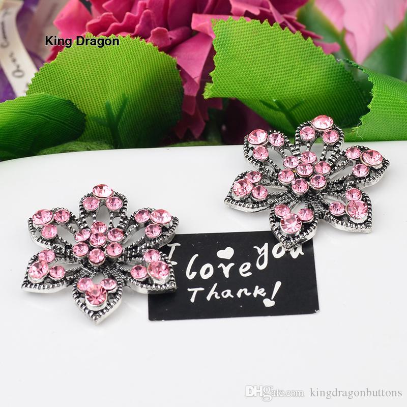 Flor rosa Strass Enfeite Usado No Convite Do Casamento Decoração Botão Apartamento De Volta 30 MM 20 Pçs / lote Prata Antiga KD555
