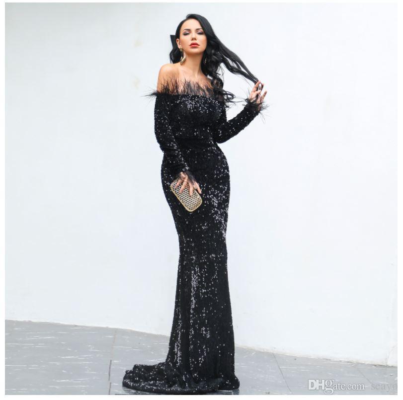 Nuevo vestido transfronteriza noche, europeo y una pluma atractiva del hombro de lentejuelas de manga larga vestido de fiesta largo de estilo americano, sa directa de fábrica