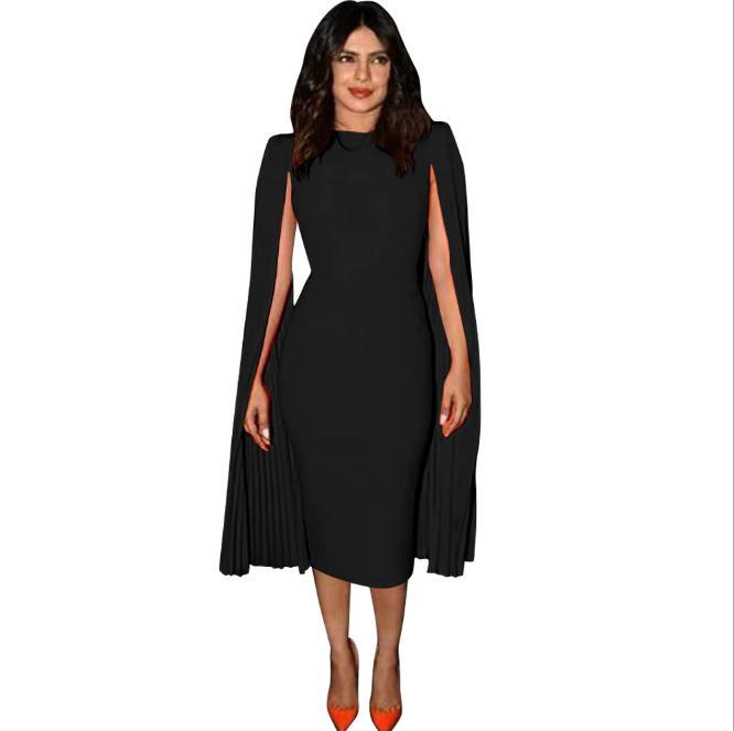 Elegant Evening Autumn Dress Cape Gown Pink Black Blue Plus Size Midi Dresses Cape Cloak Pencil Dress