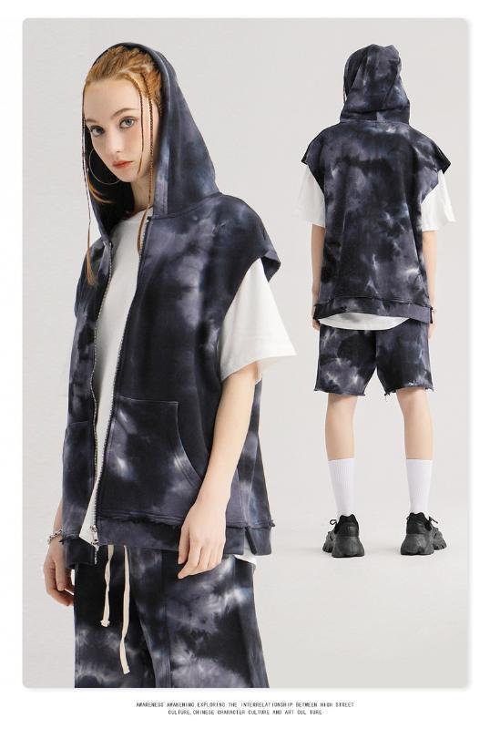 BE 100% хлопка Мужская с капюшоном Жилет Tie-окрашенных рукавов мужской Толстовка Сплит подол Zipper рубашки Бесплатная доставка Streetwear