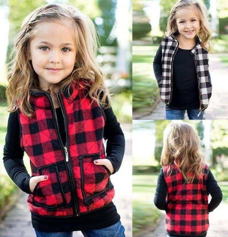 Emmababy Filles Enfants Automne Tenues Automne Hiver Sweat Zipper Veste à carreaux Manteau Waistcoat Packet Casual