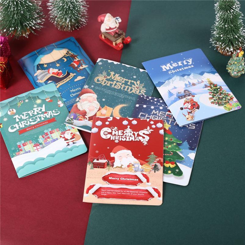 Décorations de Noël pour la Maison 3D carte de voeux AR virtuel technologie D'imagerie Cartes De Voeux Nouvel An Cadeaux Navidad 40OCT7