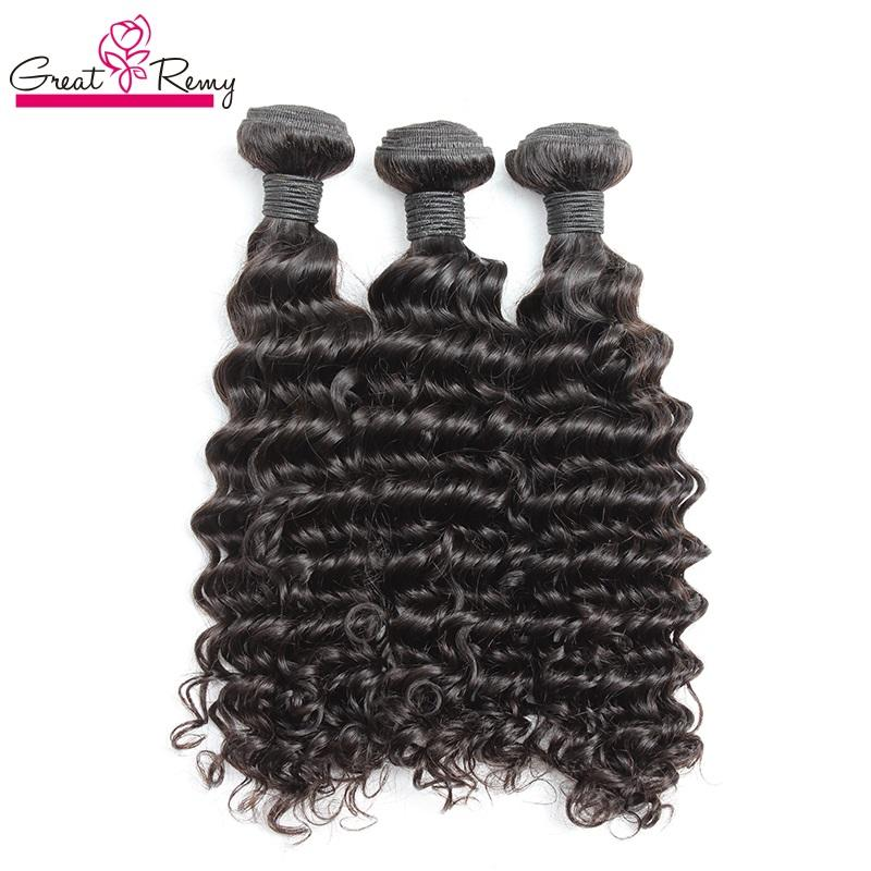 Greatremy® 100% brasiliansk obearbetad mänsklig hårväftväv 8-30 Naturfärg Virgin Hair Extension Deep Wave 3pcs / Lot Fast Shipping