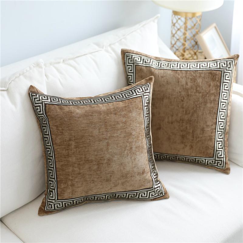 Almofadas almofada macia de veludo cinza Capa Home Decor bordado azul fronha Sofá decorativa 60 x 60cm Lance fronha