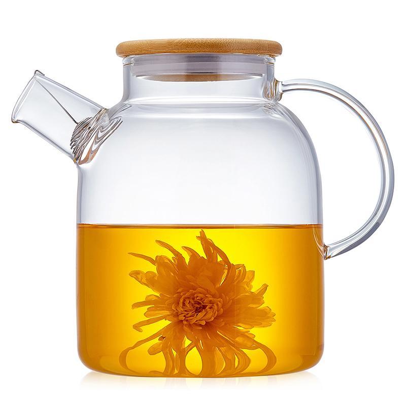 2Sizes Boa Limpar vidro borosilicato bule com 304 Stainless Steel Infuser vendas Filtro Calor verde Tea Pot Ferramenta Chaleira Set Hot