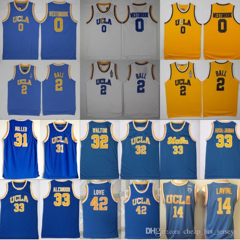 UCLA Bruins Trikot College Basketball Russell Westbrook Lonzo Ball Zach LaVine Kareem Abdul Jabbar Reggie Miller Bill Walton Kevin Love Blue