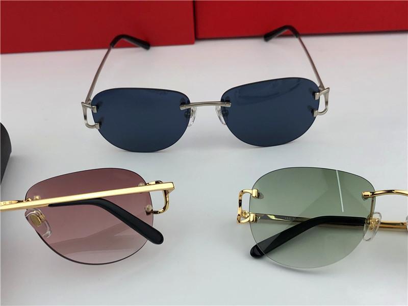 Occhiali da sole moda all'ingrosso-esterni 1234 montatura tonda senza cornice retro design avanguardistico design uv400 occhiali decorativi di colore chiaro