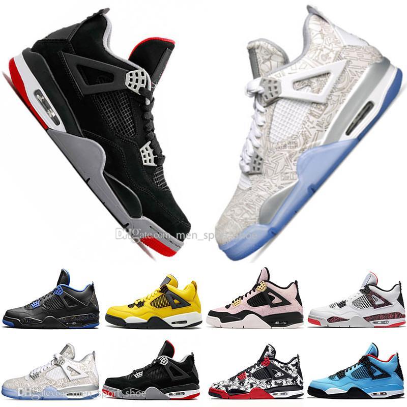 Con la caja de los muchachos 2019 más nuevos Bred 4 4s lo que los zapatos Cactus Jack láser Alas de baloncesto del Mens Eminem pálido Citron Hombres Deportes zapatillas de deporte de diseño