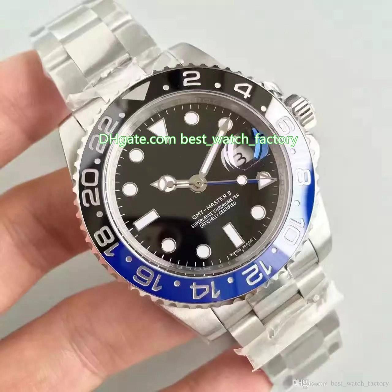 2 cores top venda melhor qualidade n v8 40mm GMT batman 116710 116710ln 116710blnr cerâmica suíça cal.3186 movimento automático dos homens relógios relógios