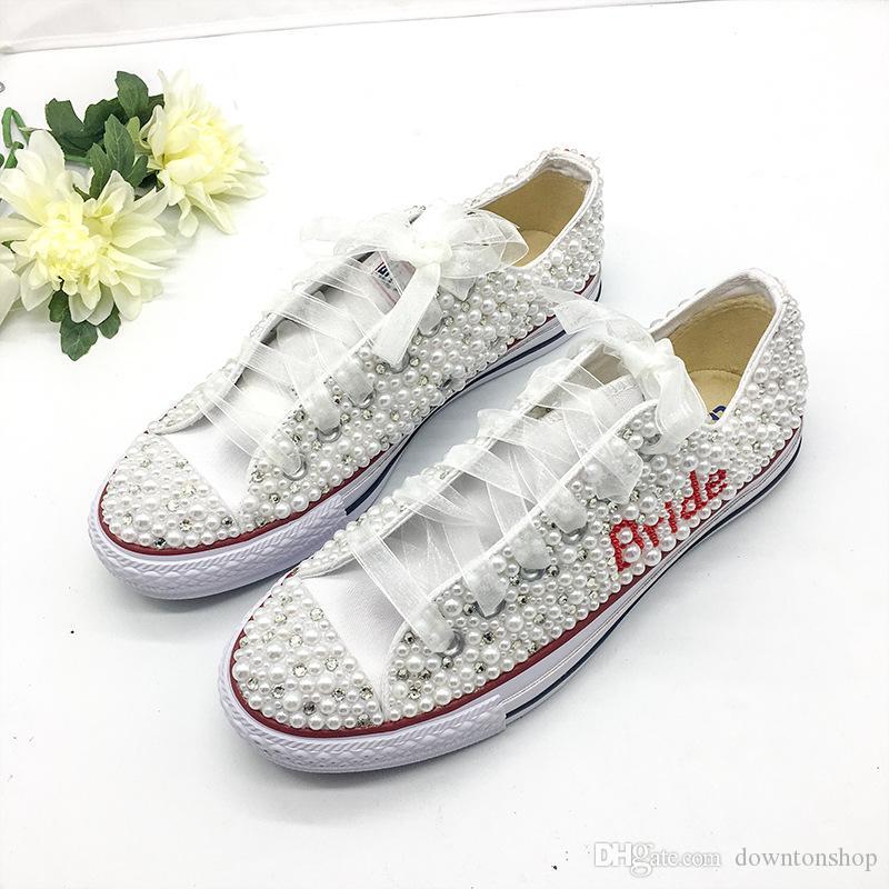 Downton handgefertigte Kristalle Pearls Hochzeitsschuhe Sneakers Bridal Flache Schuhe Leinwand Plimsoll Brautjungfer Sneaker Schuhe Größe 34-44