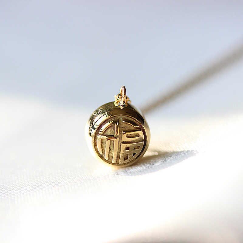 Фабрика Original Design 18K Yellow Solid Gold Joy Luck Письмо Маленький мяч Подвеска Китайский стиль ключицы цепи ожерелье Китай Оптовая