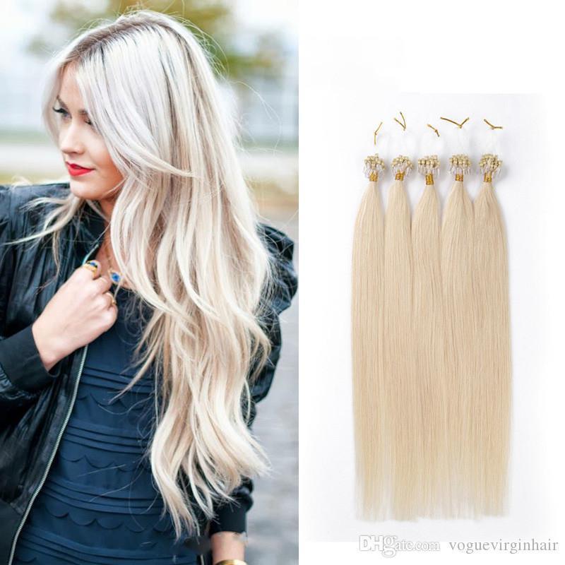 Perulu İnsan Saç Blonde Düz Mikro Yüzük Saç Uzantıları Mikro Döngü 100 stant 24 renk Mevcut 16-26 İnç