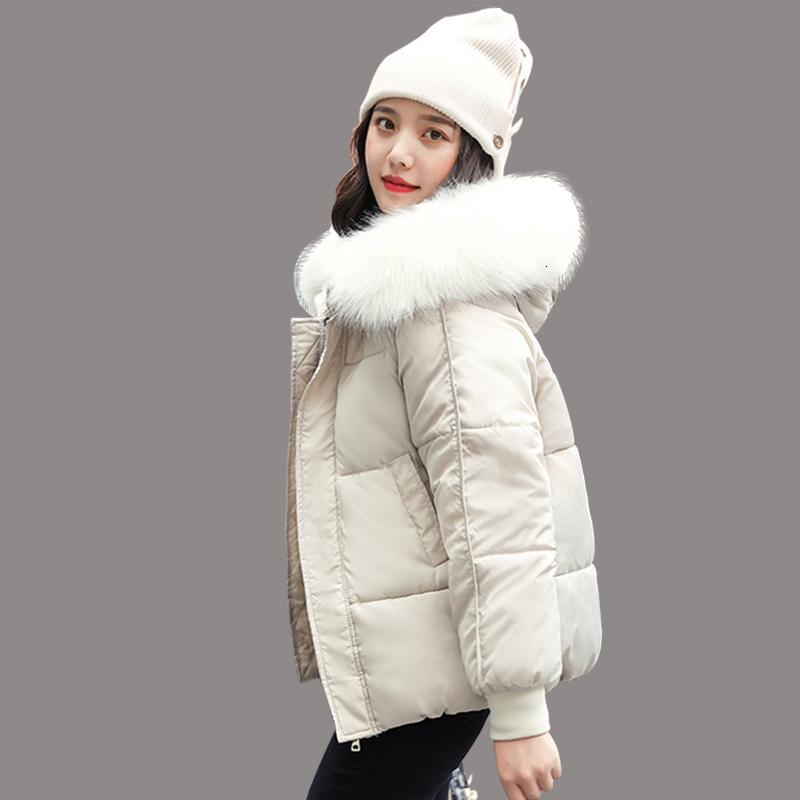 WXWT Winter jacket parkas 2019 winter new women's fashion large fur collar hooded thick cotton down jacket Russian winter coat DT191028