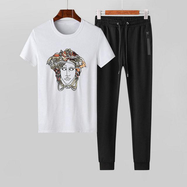 2020 Mercerisieren Cotton Licht Stoff Refreshing Bewegung Freizeit Short Sleeve Suit Male Schlank Weiß Zweiteilige Seti06