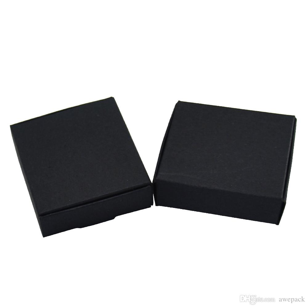 8x8x4cm Square Black Foldable Kraft Paper Gift Handmade Soap Storage Boxes Wedding Party Gift Candy Chocolate Package Box Retail 50pcs/lot