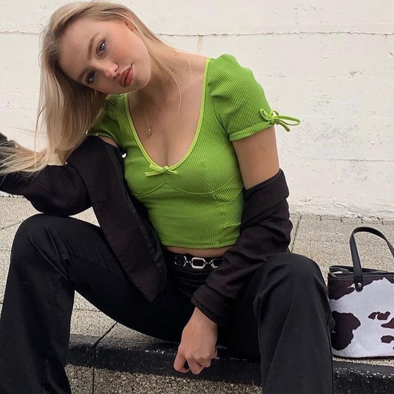 Neon suaves com nervuras malha bonito BODYCON principais culturas mulheres verdes T-shirt 2020 moda outono casuais de manga Puff arco tees mujer