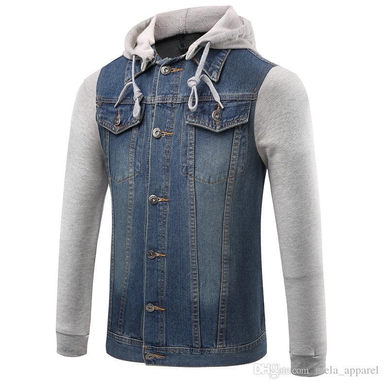 Uomini cucita Giacca di jeans staccabile in maglia maniche lunghe con cappuccio Hip Hop Retro Giacca di jeans Via casual Giacca Pilot Harajuku Fashion