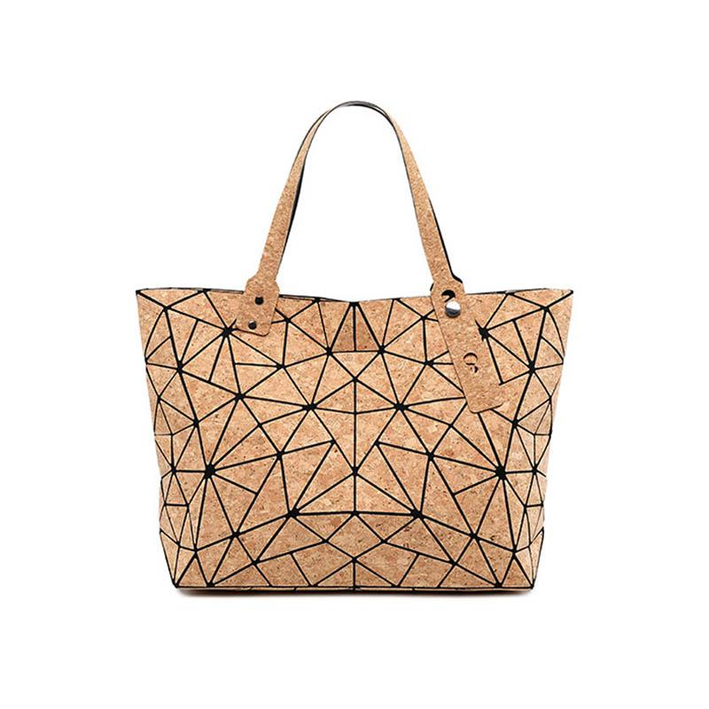 Irregolare pieghevole del sacchetto di mano spalla W637 kandra diamante geometrica Cork Tote Borse Deformazione Bucket Bag di donne Bolsas
