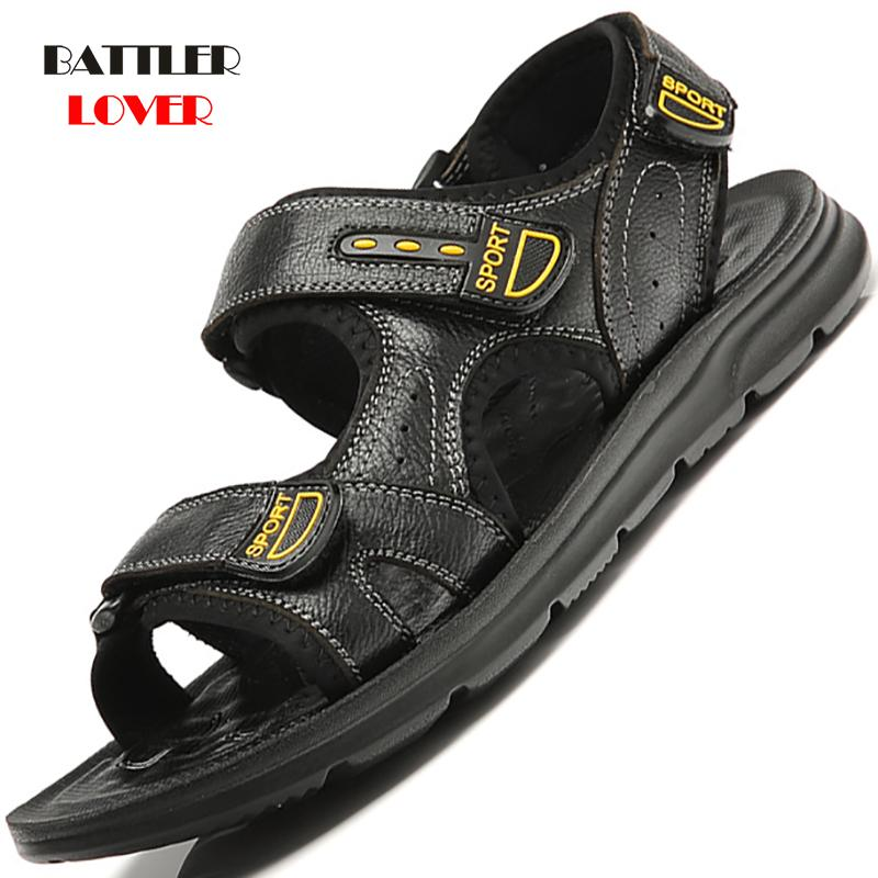 2020 Men's Sandals Summer High Quality Shoes Beach Men Sandals Causal Shoes Genuine Cow Leather Fashion Outdoor Footwear