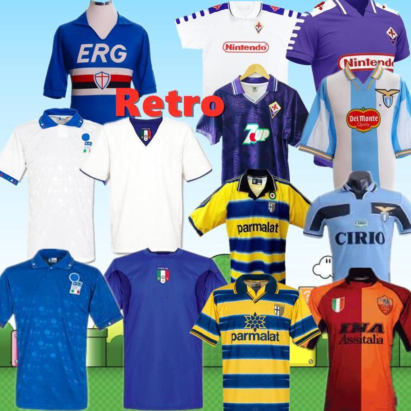 2020 이탈리아 레트로은 축구 유니폼 토티 바조 06 피렌체 삼프도리아 라치오 파르마 로마 1994 98 99 00 90 91 셔츠 티 세리에