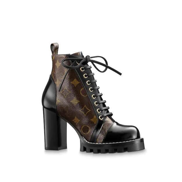 botas de cuero famosos zapatos de marca de las mujeres 1a2y7w caucho cordón de la manera gruesa del talón Negro ocultar suela de lujo botas de Martin box0