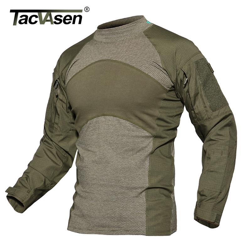 Tacvasen Men Summer Tactical T-shirt Army Navy Combat Airsoft Tops Long Sleeve Military Tshirt Paintball Hunt Camouflage Clothes SH190718