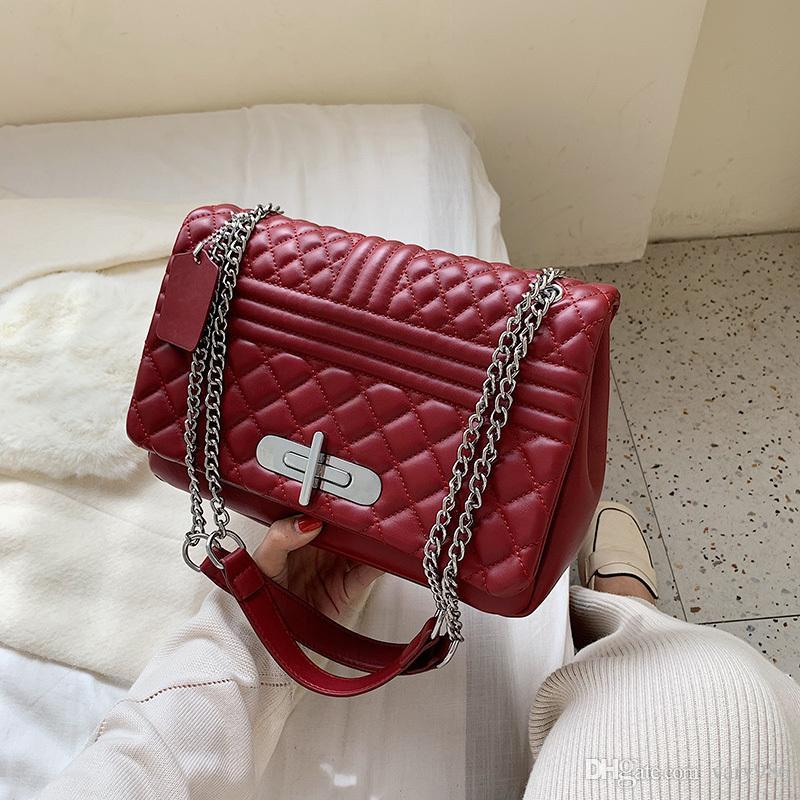 2019 Kadın çantaları Ling ızgara paketi ve moda omuz zincir çanta Messenger çanta vahşi moda çanta nidaier / 9