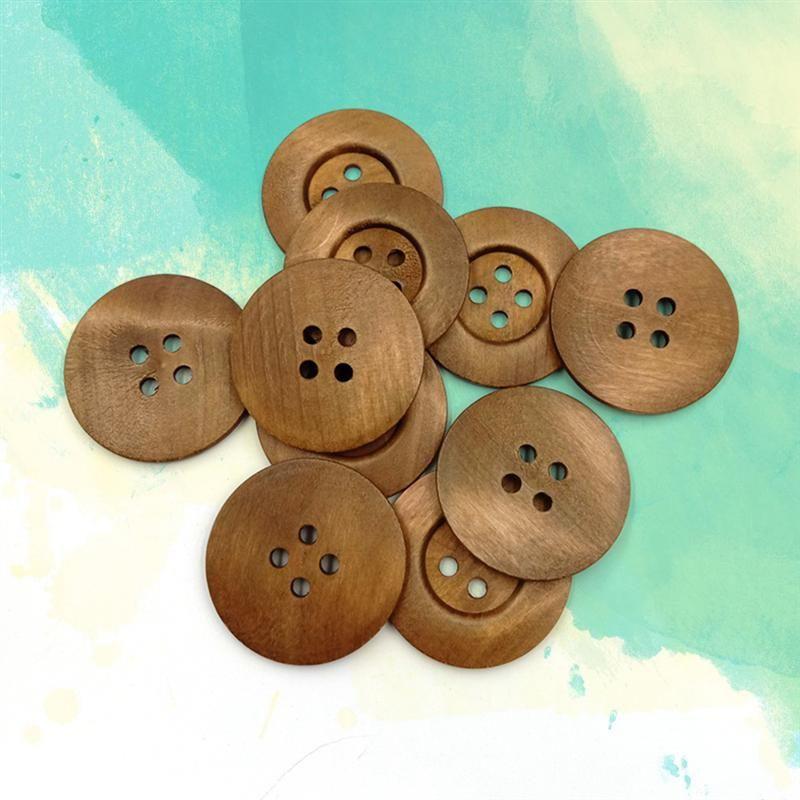 50Pcs À faire soi-même 2 trous plat bois boutons pression Noir Fait à la main Boutons Artisanat