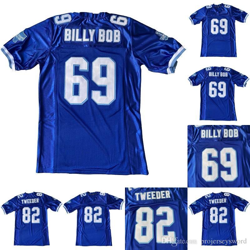 Mens 69 Billy Bob 82 Charlie Twexer West Canaan Coyotes Warsity Blue Choine 100% сшитые футбольные трикотажные изделия Бесплатная доставка