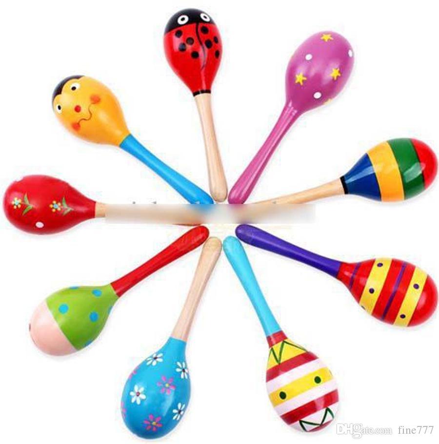 Hochet pour bébé en bois pour bébé Hochet pour bébé mignon Instruments de musique Orff Jouets éducatifs Développer l'ouïe et la vision de bébé