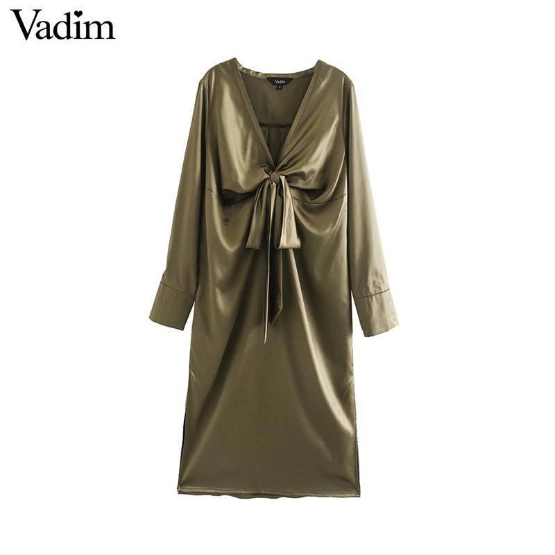 Vadim femmes du cou à manches arc mode cravate décorez robe plissée V longue de femme robes mi-solides style décontracté QD211