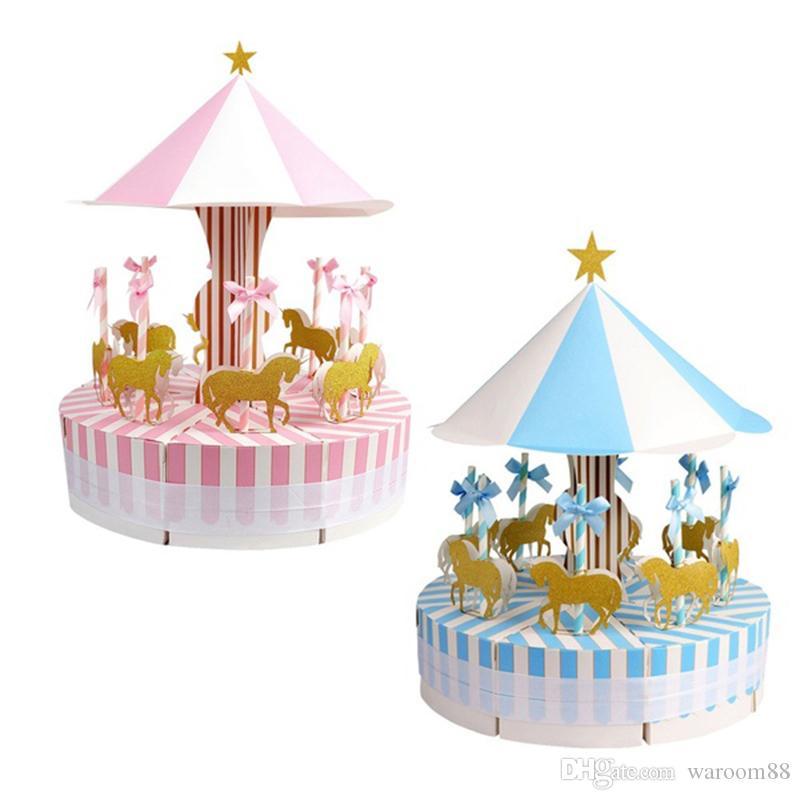 낭만주의 회전 목마 사탕 상자 결혼식 호의 및 선물 게스트 파티 호의 선물 사탕 상자 생일 웨딩 장식 선물 상자
