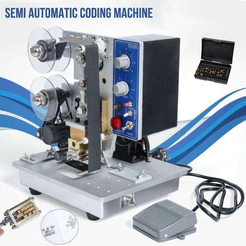DHL grátis! Semi Stamp automática Hot fita Máquina de Codificação Data Character Código Hot fita para impressora Data Coding Máquina de impressão
