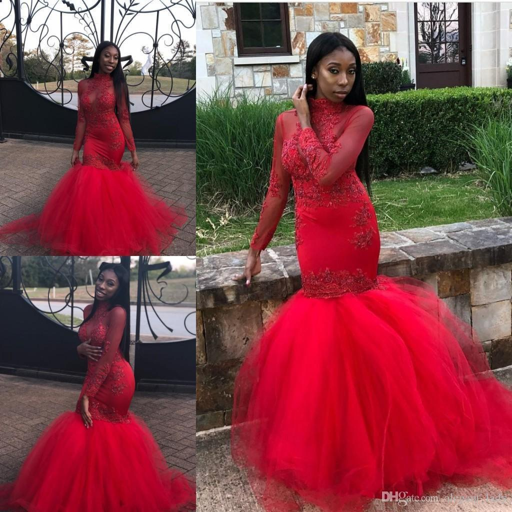 Sirena roja africana Vestidos de baile 2019 Mangas largas Abalorios de encaje Apliques Cuello alto Nivel de piso por niveles Fiesta de tul Vestidos de noche Ropa