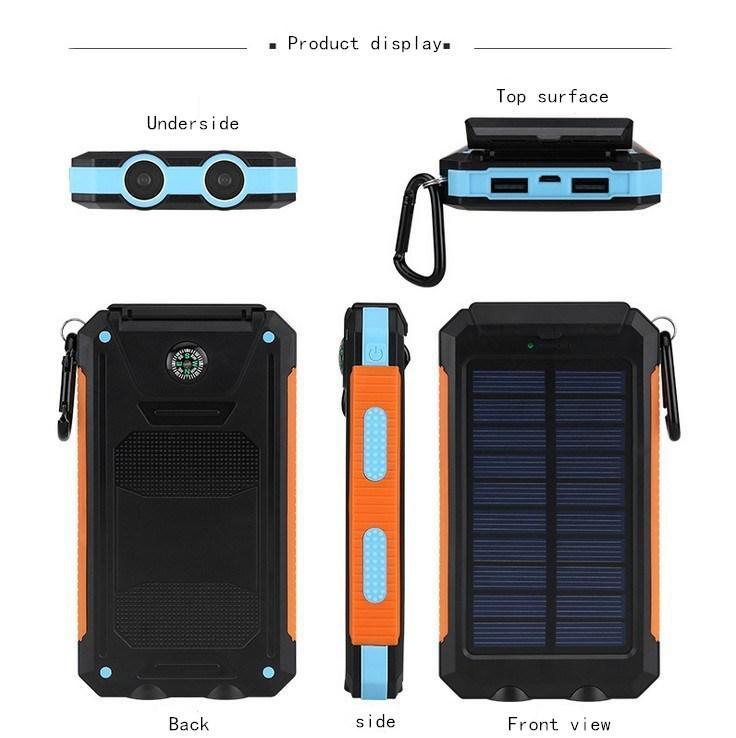 10000mAh Novel solar Power Bank Ultra-thin Highlightlight Lead Solar Power Banks 2a Output Cell Phone Charger Solar Powerbank Free shippi
