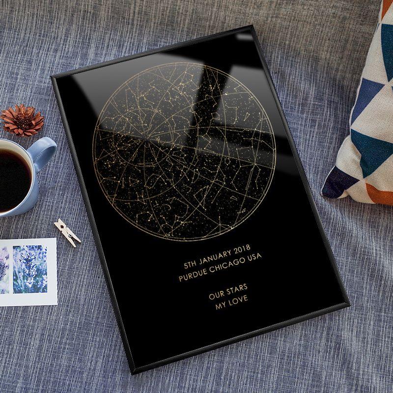 özel gece gökyüzü baskı çerçeveli yıldız haritası takımyıldızları için dijital afiş Kişiselleştirilmiş Yıldönümü boyama hediye nişan onu