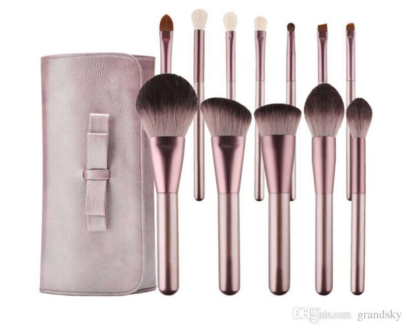Высокое качество фиолетовый макияж кисти набор наборов 12шт / набор высокопроизводительный инструмент Кисть порошок Фонд румяна тени для век инструменты с макияж сумка