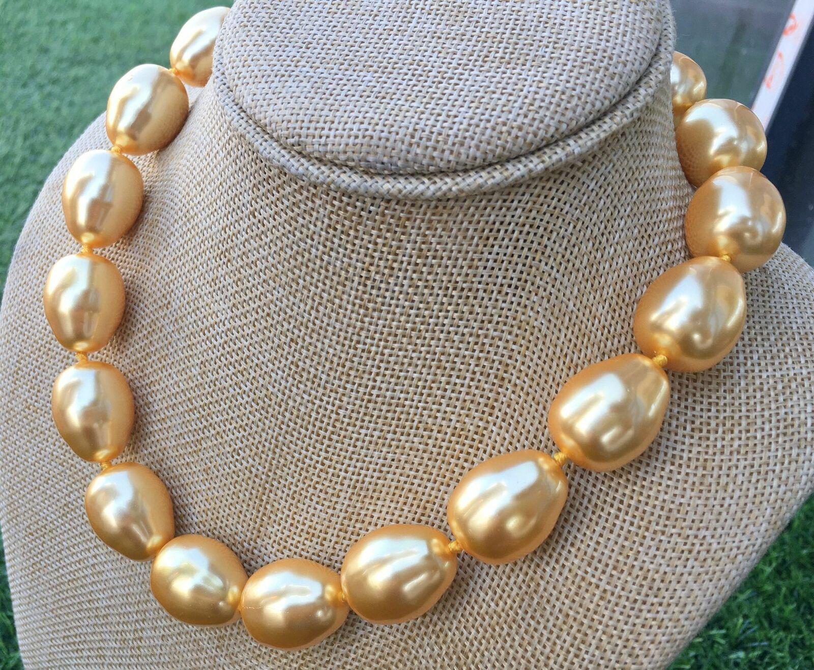 """HUGE AAA++ LARGE FASHION 20MM SOUTH SEA GOLD BAROQUE SHELL PEARL NECKLACE 17.5"""""""