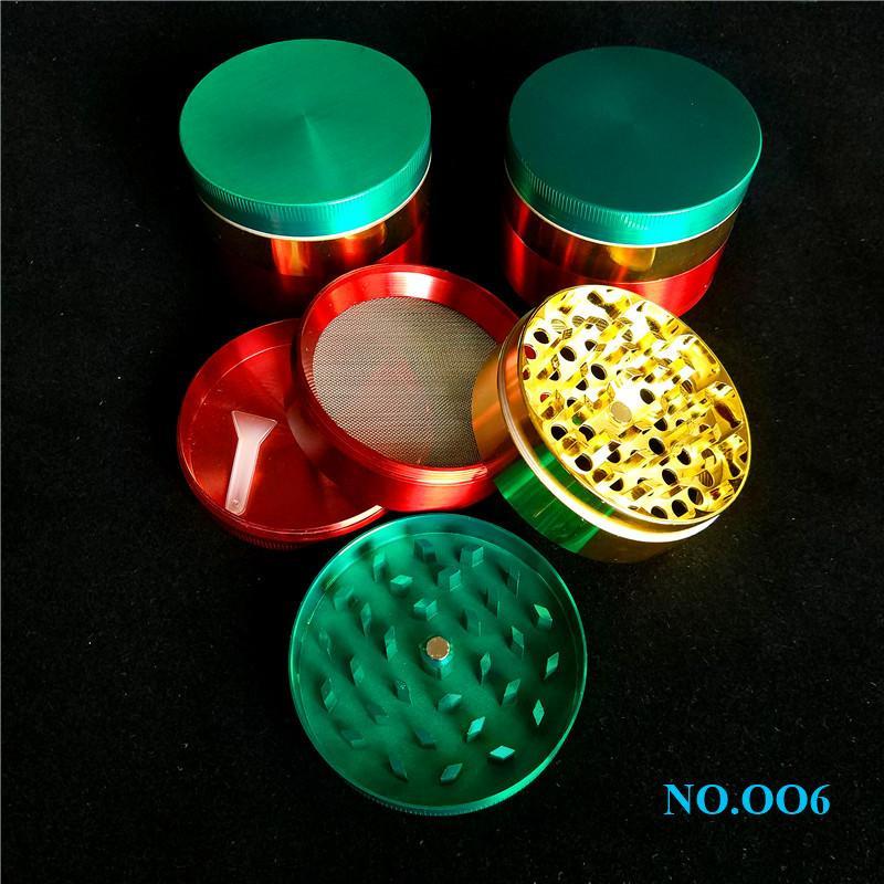 Buen 60mm rojo amarillo verde grandes molinillos de hierbas 3 capas molinillo de tabaco barato Big Cali trituradora molinillo de hierbas de diamante para la venta ff