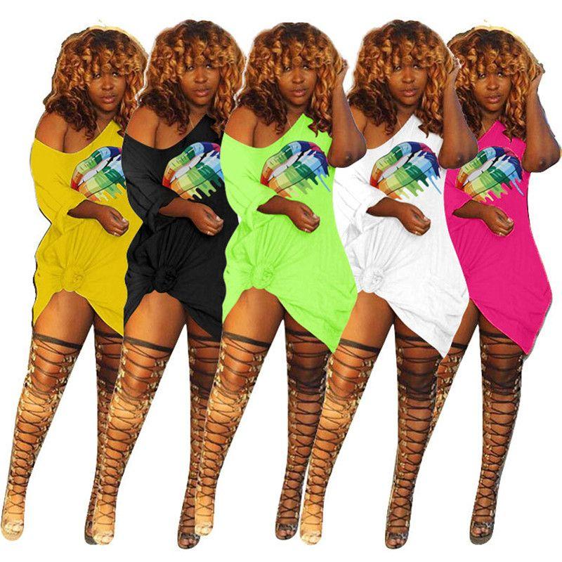 Women Lips Print Dress Short Sleeve Off Shoulder T Shirt Dresses Summer Pocket One-piece Skirt Casual Outfits Club Mini Dress Clothing S-3XL