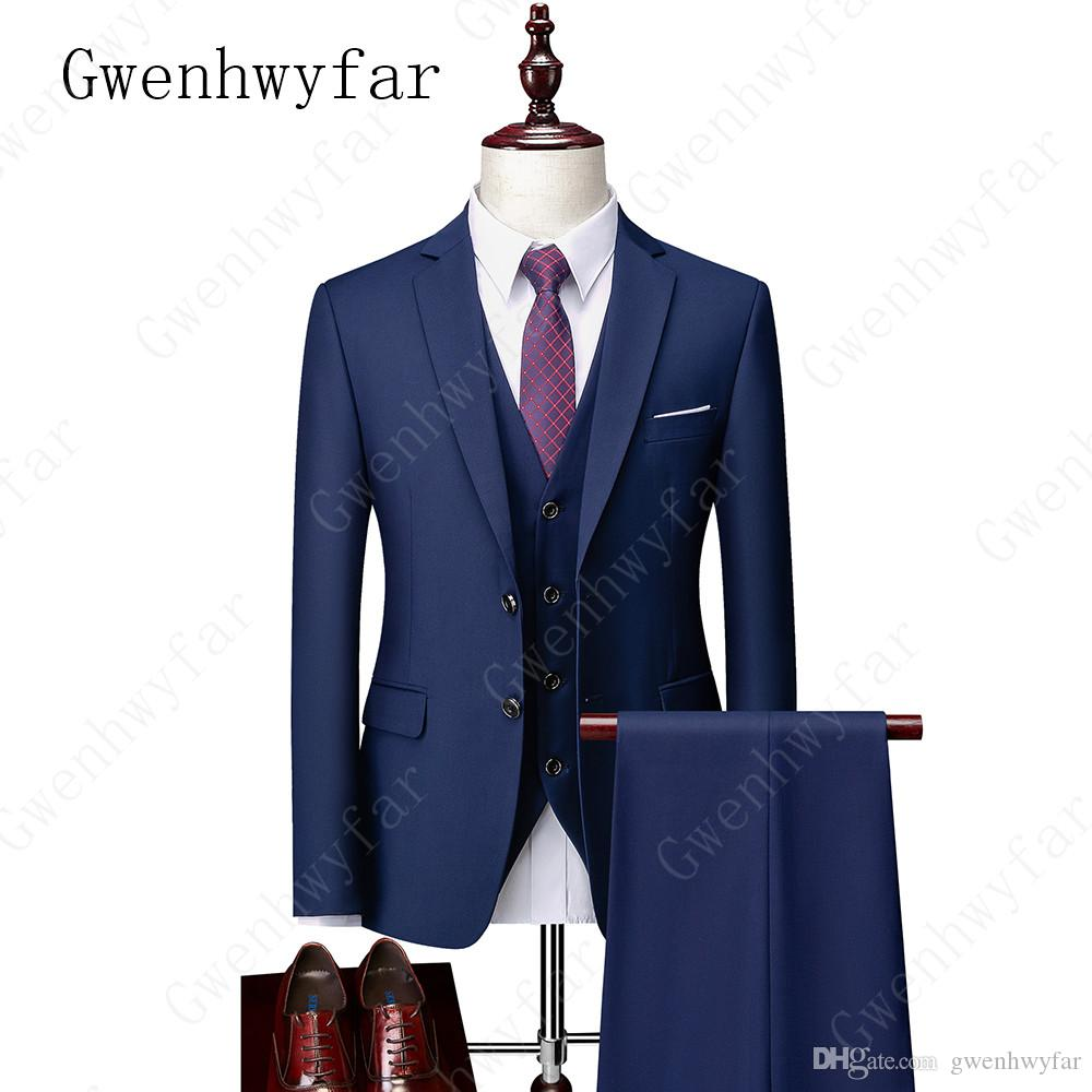 Gwenhwyfar 2020 New Arrival Two Button Grooms Notched Lapel Groom Tuxedos Men Suits Wedding / Prom Best Man Blazer (Jacket+Pants+Vest)