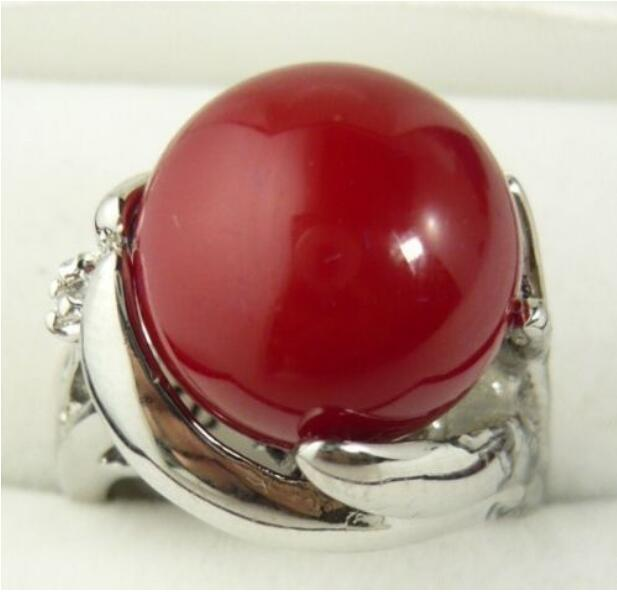 Jewelryr Jade Ring Charming 14mm red shell pearl 18KGP ring(#6,7,8,9) Free Shipping